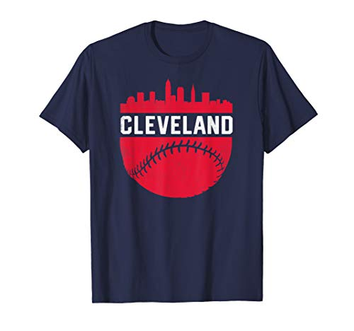 Vintage Downtown Cleveland Ohio Skyline Baseball T-Shirt