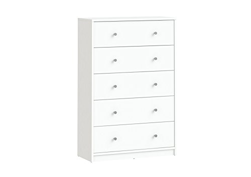 Tvilum Portland 5 Drawer Chest, White