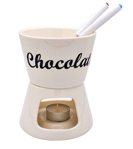 BeBuy24 Schokolade Fondue-Set 4-teilig, Ø 12 cm, Porzellan Schokofondue Fondueset Schoko
