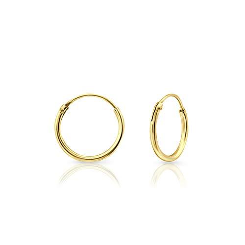 DTP Silver - Pendientes de Aro de mujer - Plata 925 - Plateada en Oro Amarillo 18 K - Espesor 1.5 mm - Disponible en Diámetro 8, 10, 12, 14, 16, 18, 20, 25 mm