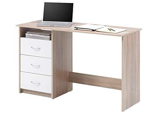 möbelando Schreibtisch Computertisch Arbeitstisch Bürotisch Laptoptisch Büromöbel Mack I Sonoma-Eiche/Weiß