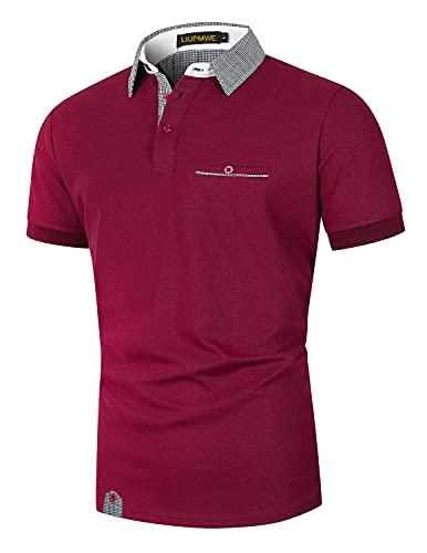 LIUPMWE Polo Shirts Herren Kurzarm Golf Poloshirts mit Tasche Gitterstiche Ausschnitt Baumwolle Basic T-Shirt Polohemd Sommer,Rot 1,S