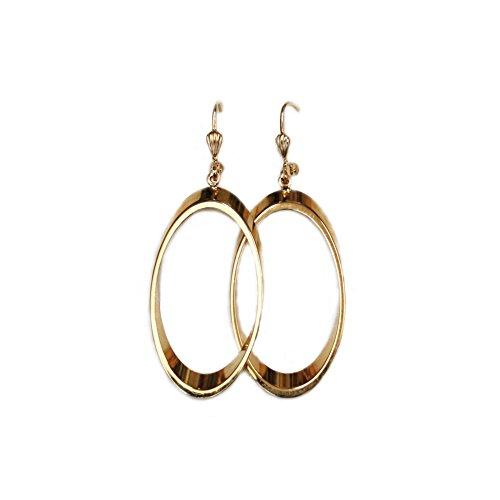 rougecaramel - Bijoux - Boucles d'oreilles créoles ovales pendantes plaqué or longueur 50mm