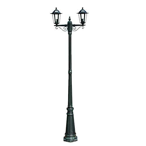 Ausla Farola de Jardín con 2 Luces Base E27, Lámpara de Pie de Exterior 215cm, Farola de Aluminio para Exterior 60W