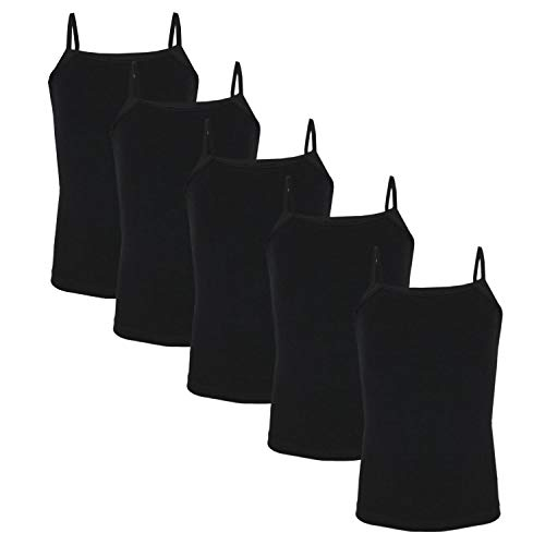 TupTam Mädchen Unterhemd Spaghettiträger Top 5er Pack, Farbe: Schwarz, Größe: 110-116