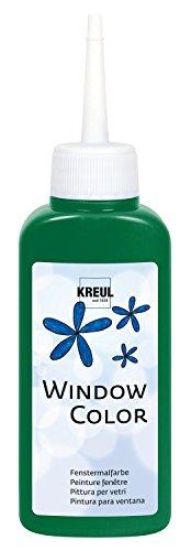 Kreul 42739 - Window Color dunkelgrün 80 ml, Fenstermalfarbe auf Wasserbasis, mit strukturierter Oberfläche, für Glas, Spiegel, Fliesen und andere glatte Flächen