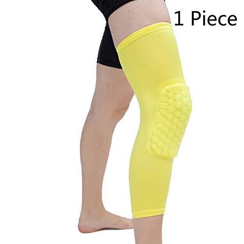 1 STÜCK Basketball knieschützer Honeycomb elastische knieschützer kompressionshülse Schaum unterstützung Schutz Volleyball unterstützung-One Piece Yellow, M