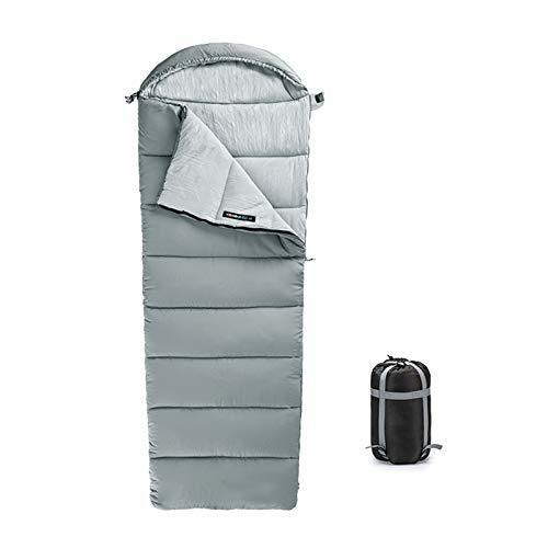 Saco Dormir Individual Adulto, Camping, Senderismo, Aire Libre, 3-4 Estaciones, Capucha, Impermeable, Ultraligero, Bolsa Transporte Compacta,(220 x 80 cm),Rock-Ash,1.85kg