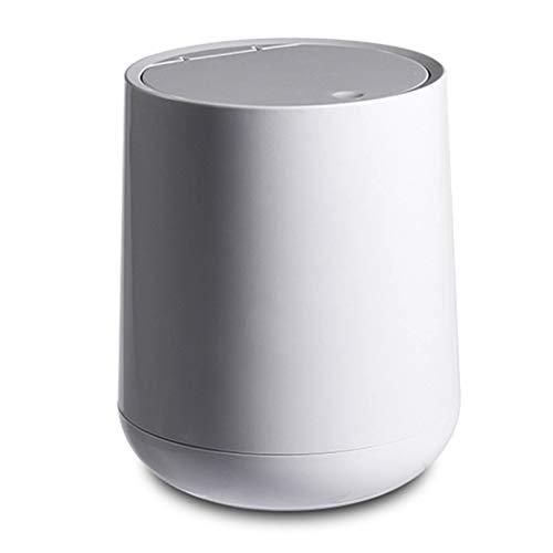 Buhui Papelera de escritorio con tapa, pequeño cubo de basura de plástico redondo con tapa abatible para baños, cocinas,...