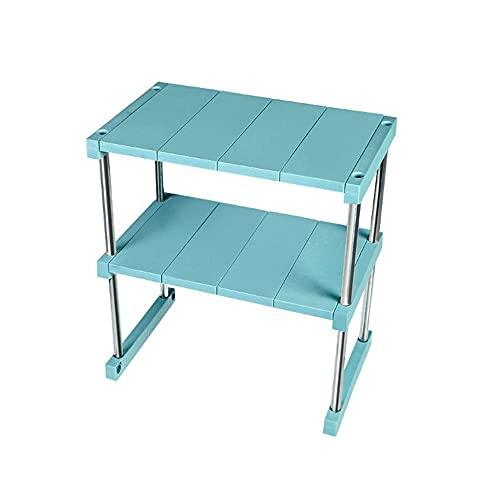 Estante organizador multifuncional, organizador de encimera, estante de especias para armario, estante de despensa para gabinete, organización y almacenamiento para baño de cocina (2 niveles, Verde)