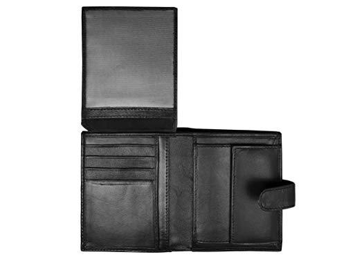 Billetera Roamlite Designer Leather para Hombre, tamaño de Chaqueta Grande con 11 Ranuras para Tarjetas de crédito y Monedero con Botones - Caja de Regalo Negra - RL66KX