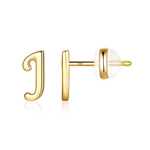 Orecchini a forma di lettera per ragazze, in argento Sterling placcato oro, iniziale con lettere dell'alfabeto, per bambine e ragazze, idea regalo, colore: j