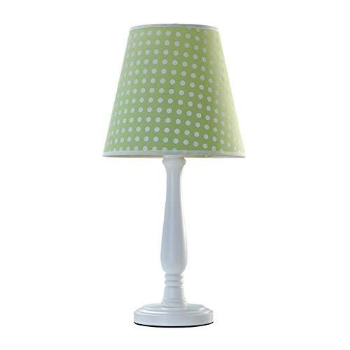 YNHNI Sala de niños de la lámpara de la Tabla de los niños Dormitorio lámpara de cabecera de la lámpara Poste de Madera Hecho a Mano de la Tela Lámparas,Pequeña (Color : Greenc)