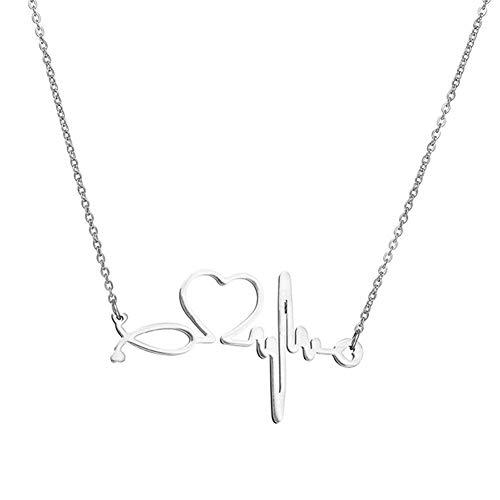 Halskette Kette Armband Angebote Abstand Fashion Herz-EKG-Anhänger Frauen Claviclekettenhalskette Charme Schmuck-Geschenk, Farbe: Silber (Color : Silver)