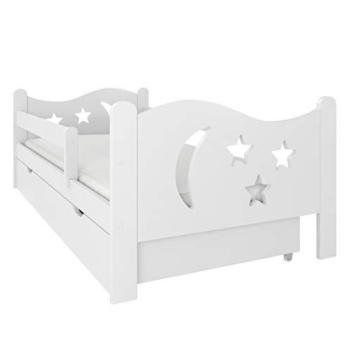 NeedSleep® Rausfallschutz Kinderbett Komplett 80x140 80x160 Bett Lattenrost Schublade I Kinder ab 2 Jahren | Mädchen Junge I Montessori Kinderzimmer Funktionsbett (80x160 mit Matratze, Weiß)