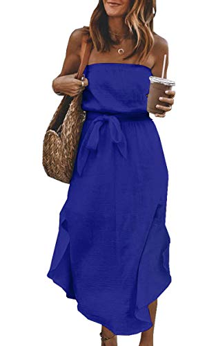 CinShein Womens Casual Off Shoulder Wrap Maxi Dress Summer Strapless Ruffle Party Beach Long Maxi Dresses with Belt Blue X-Large
