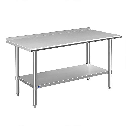 Rockpoint Carmona Tall NSF Stainless-Steel Commercial Kitchen Work Table with Backsplash and Adjustable Shelf 60 x 24 Inch