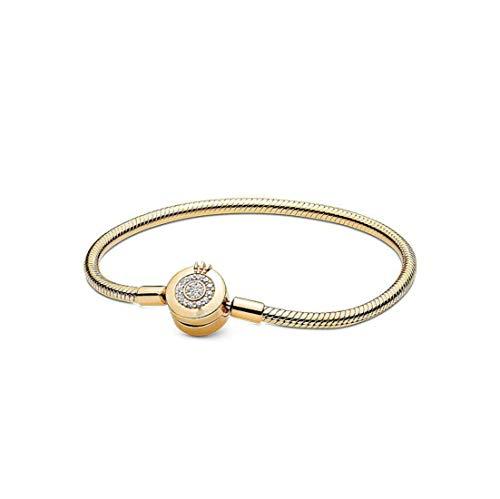 RAMG 925 Sterling Silver Bracelets Rose Gold Crown O Snake Chain Bracelet Fit Original European Charms Women DIY Jewelry (21, Sparkling Crown Gold)