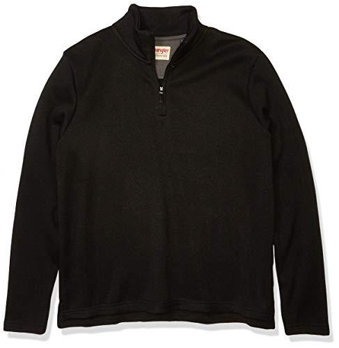 Wrangler Authentics Men's Sweater Fleece Quarter-Zip, Caviar, XX-Large