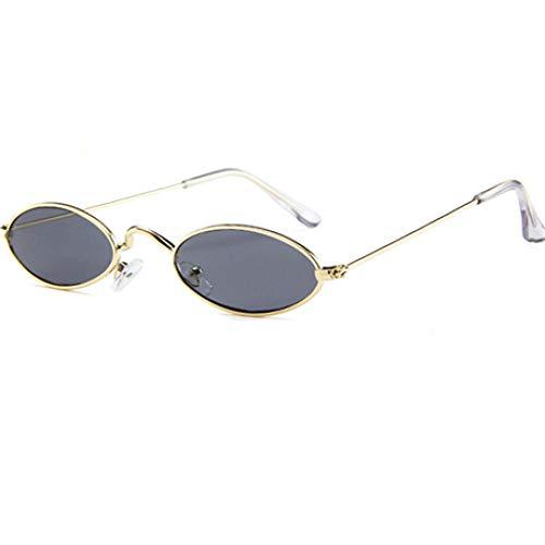 DLSM Gafas de Sol ovaladas pequeñas Vintage Moda Mujer Hombre Marco de Metal Sombras de Lente Rosa Claro Gafas de Sol Gafas UV400 Adecuado para Fiesta en la Playa-C4