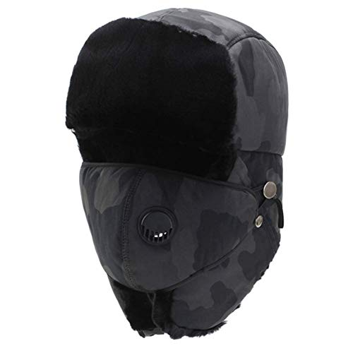 Daxiong Habe Unisex, die warme Winter-Kavallerie-Hut mit Maske, Plus Samt windundurchlässiger Winter warm,A