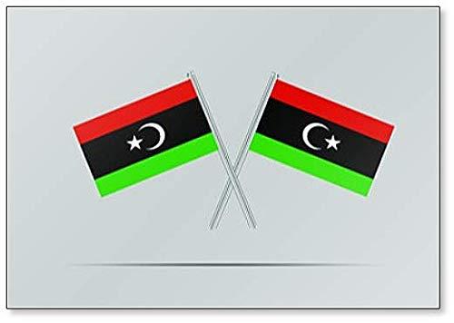 Libië Nationale Vlag op Twee Vlaggenmast Koelkast Magneet