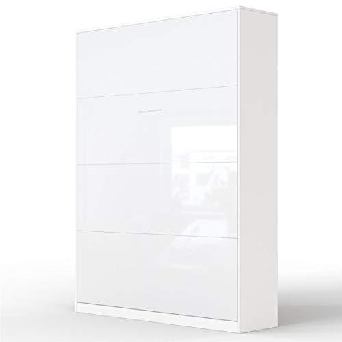 SMARTBett Letto a Scomparsa Basic Letto Ribaltabile Letto a Muro (140x200 Verticale, Bianco/Bianco Parte Frontale Lucido)