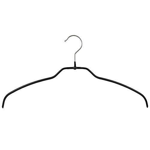 MAWA 20 Stück Silhouette Light/FT Form-Leichtbügel Kleiderhaken für Oberbekleidung, rutschhemmend, 42 cm Breite, schwarz