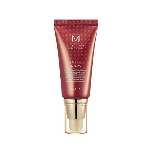 Missha M Perfect Cover BB Cream SPF 42 PA+++, Amazon Code Verified for Authenticity, 50ml, Concealing Blemishes, dark circles, UV Protection (#25 Warm Beige)
