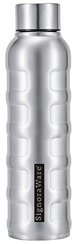 Signoraware Mobilio Single Walled Stainless Steel Fridge Water Bottle, 1000 ml, Silver