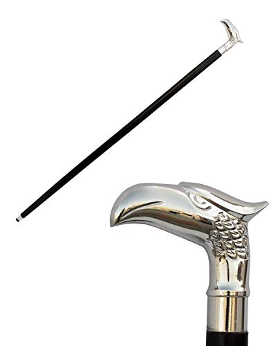 """(Eagle) - . - Wooden 37"""" Decorative Walking Cane / Walking Stick Premium Quality Rare Eagle Head Decorative Prop with Nickel Plated Brass Handle (Symbol of Power and Strength) - Unique Gifts 🔥"""