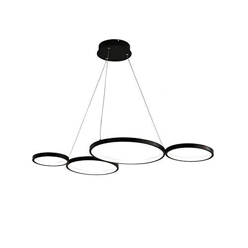Dimmbare Fernbedienung Pendelleuchte Modern LED Hängeleuchte Geometrie Ring Design Acryl Pendellampe Minimalistische Decke Hängelampe für Esszimmer Schlafzimmer Wohnzimmer 4 Ringe , Schwarz