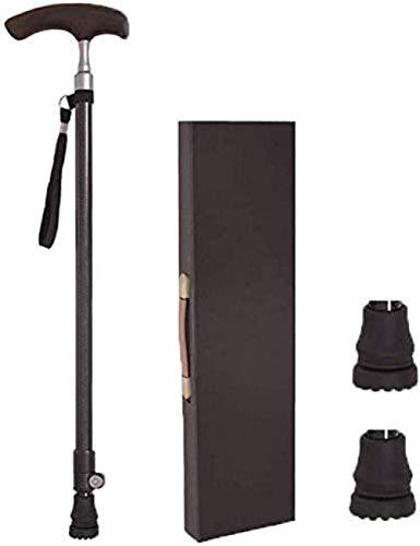 Bastones Antideslizantes de Fibra de Carbono para Ancianos con Hebilla Exterior Engrosada y Conector de Aluminio y muñequera anticaída