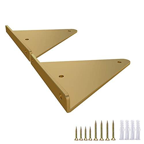 2pcs Metal Soportes de estantes de metal Flotante Decorativo Estantes Negro, Muro Colgando Esquina de soporte, incluyendo accesorios de instalación, Soporte de metal de trabajo pesado Triángulo de oro