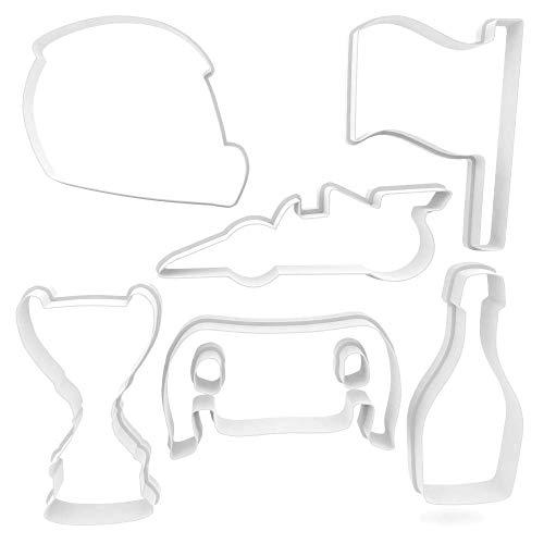 F1 Formel 1 Ausstechform Rennauto, weiß, Medium 8.5cm