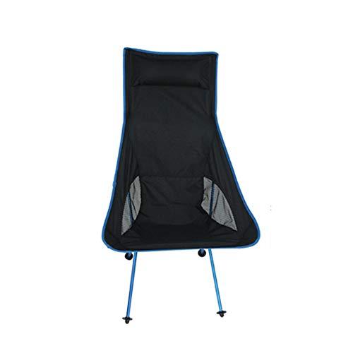 MM&KK Camping Plein air Pliant Chaise de Lune en Alliage d'aluminium Chaise de pêche Portable Barbecue Jardin randonnée Ultra léger Chaise Longue Pliante, Bleu