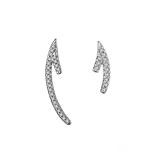 Orecchini a forma di freccia con arco, asimmetrico, con diamante