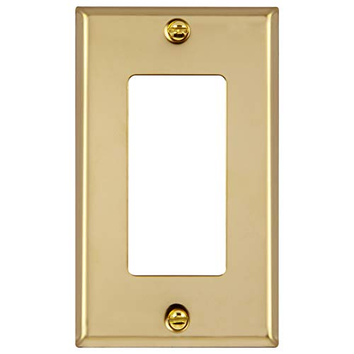 ENERLITES Decorator Switch or Outlet Metal Wall Plate, Stainless Steel Outlet Cover, Corrosion Resistant, Size 1-Gang 4.50' x 2.76', UL Listed, 7731-PB, 302 Polished Brass, Gold