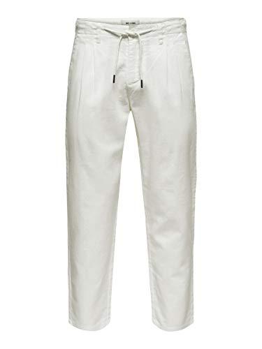 Only Onsleo Linen Mix Gw 3002 Pantaloni, Bianco Brillante, 28/32 Uomo