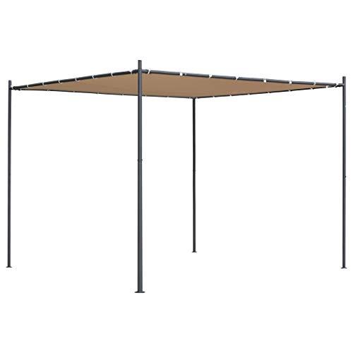 Tidyard Gartenpavillon mit Flachdach 3 x 3 m | Faltpavillon Gartenzelt Partyzelt | Wasser- und UV-beständig | für Garten Terrasse Beige