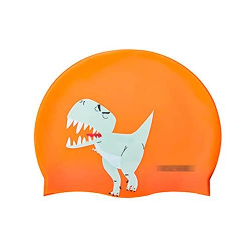 kerryshop Gorro de natación Gorra de natación de Silicona Infantil Profesional Impermeable Anti-Cloro Protección de Oreja Playa Cap (Color : Orange)