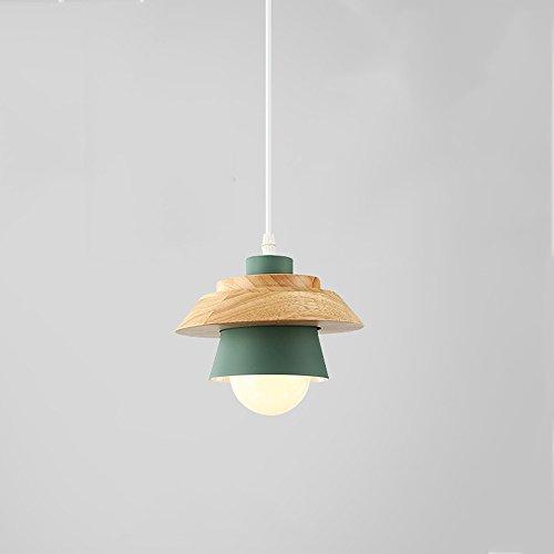 Ganeep Creative Iron Arts kroonluchter mode houten hanger licht unieke kop zwart wit roze groen plafondlamp Scandinavisch minimalistisch modern nachtkastje restaurant hangend E27 LED-lichtbron [energie-efficiëntieklasse A +]