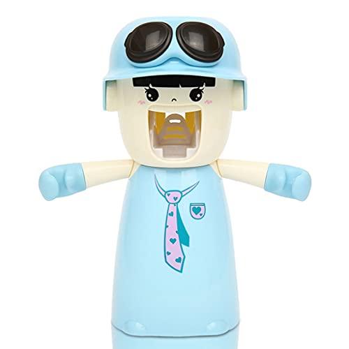 Titulaires de brosse à dents pour enfants avec gobelet Mains mignonnes Distributeurs de dentifrice sans dentifrice sans enfants Étui de presse-dentifrice automatique ( Color : Girl version blue )
