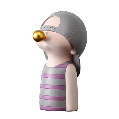 MERIGLARE Adorno de Escultura de Personajes de Dibujos Animados, Soporte de artesanía de Adorno de Estilo nórdico, para decoración de Tienda de Estudio de Mesa - C_Boy_Purple