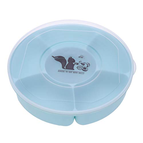 Hemoton Candy and Nut Serving Container Appetizer Tray with Lid Compartment Round Plastic Food Storage Lunch Organizer Divided Camping Snack Plate Dish Platter (Blue)