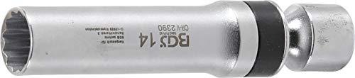 BGS 2390 | Zündkerzen-Gelenkeinsatz Zwölfkant mit Haltefeder | Antrieb Innenvierkant 10 mm (3/8