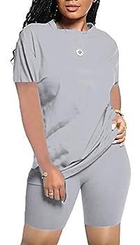 Women s Summer Casual 2 Piece Outfits Loose Soft Shorts Pant Set Sports Suit Tracksuit Jumpsuits