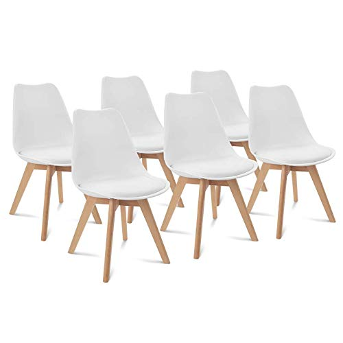 IDMarket - Lot de 6 chaises SARA Blanches pour Salle à Manger