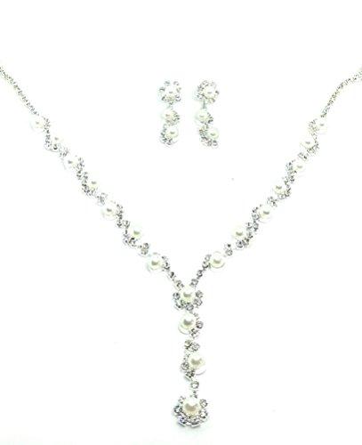 Unbekannt Set Collier Halskette Perlen Strass Hochzeit Braut SCHMUCK Taufe