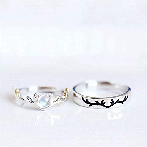 Oaisij Piedra de Luna y Ciervos Lady Anillo Abierto 925 Sterling Silver Tamaño Ajustable Pareja de Anillo Abierto